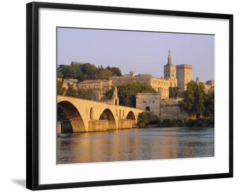 Pont St. Benezet Bridge and Papal Palace, Avignon, Provence, France, Europe-John Miller-Framed Art Print