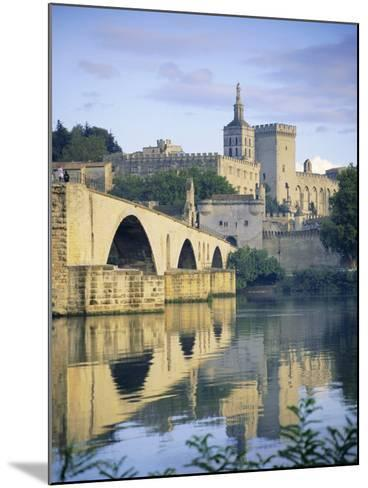 Papal Palace and Bridge Over the River Rhone, Avignon, Provence, France, Europe-John Miller-Mounted Photographic Print