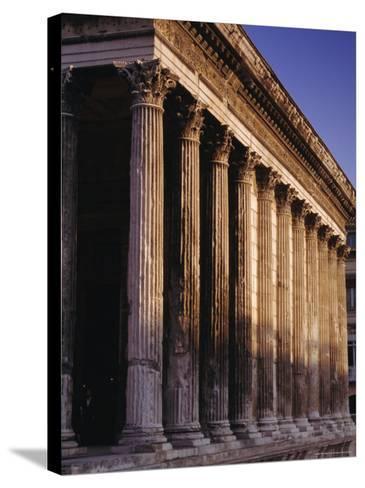 Maison Carre, Roman Building, Nimes, Languedoc, France, Europe-John Miller-Stretched Canvas Print