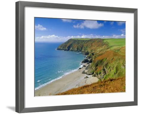 Lantic Bay, Near Fowey, Cornwall, England,UK-John Miller-Framed Art Print