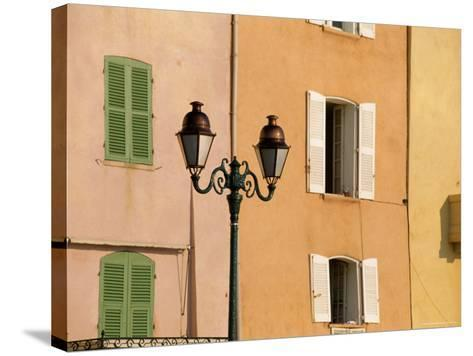 Street Lamp and Windows, St. Tropez, Cote d'Azur, Provence, France, Europe-John Miller-Stretched Canvas Print
