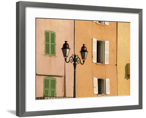 Street Lamp and Windows, St. Tropez, Cote d'Azur, Provence, France, Europe-John Miller-Framed Art Print