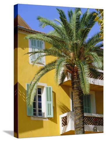 Yellow House and Palm Tree, Villefranche Sur Mer, Cote d'Azur, Provence, France, Europe-John Miller-Stretched Canvas Print
