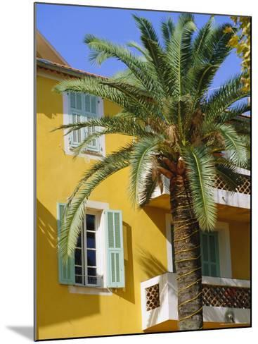 Yellow House and Palm Tree, Villefranche Sur Mer, Cote d'Azur, Provence, France, Europe-John Miller-Mounted Photographic Print