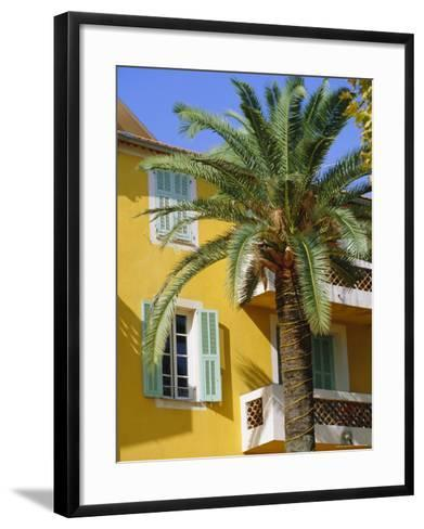 Yellow House and Palm Tree, Villefranche Sur Mer, Cote d'Azur, Provence, France, Europe-John Miller-Framed Art Print