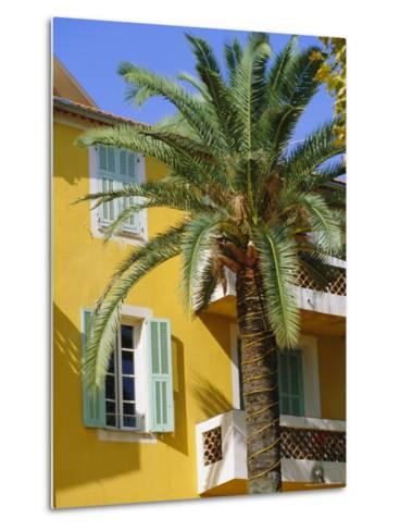 Yellow House and Palm Tree, Villefranche Sur Mer, Cote d'Azur, Provence, France, Europe-John Miller-Metal Print