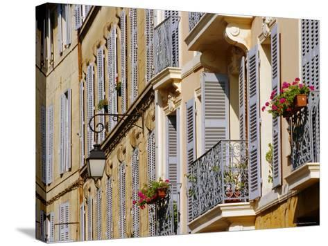 Shutters and Balconies, Aix En Provence, Provence, France, Europe-John Miller-Stretched Canvas Print