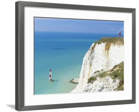 Beachy Head and Lighthouse on Chalk Cliffs, East Sussex, England, UK, Europe-John Miller-Framed Art Print