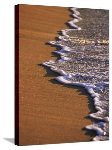 Close-up of Surf on a Sandy Beach-John Miller-Stretched Canvas Print