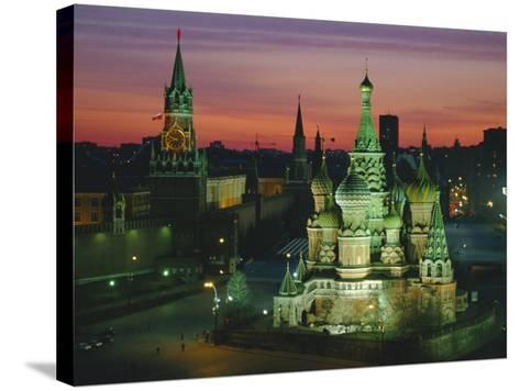 Sunset Over Red Square, the Kremlin, Moscow, Russia-D H Webster-Stretched Canvas Print