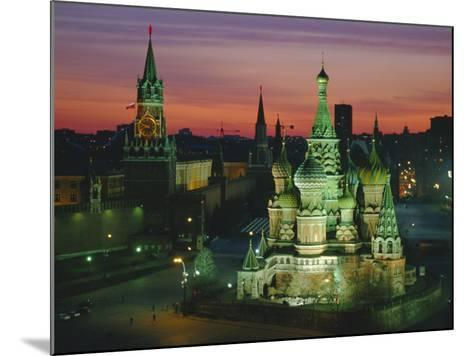 Sunset Over Red Square, the Kremlin, Moscow, Russia-D H Webster-Mounted Photographic Print