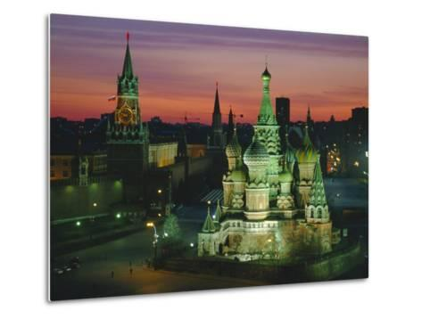 Sunset Over Red Square, the Kremlin, Moscow, Russia-D H Webster-Metal Print