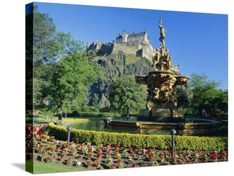 The Castle from Princes Street Gardens, Edinburgh, Lothian, Scotland, UK, Europe-Kathy Collins-Stretched Canvas Print