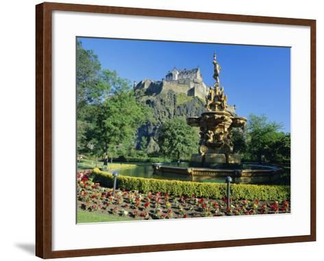 The Castle from Princes Street Gardens, Edinburgh, Lothian, Scotland, UK, Europe-Kathy Collins-Framed Art Print