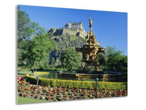 The Castle from Princes Street Gardens, Edinburgh, Lothian, Scotland, UK, Europe-Kathy Collins-Metal Print