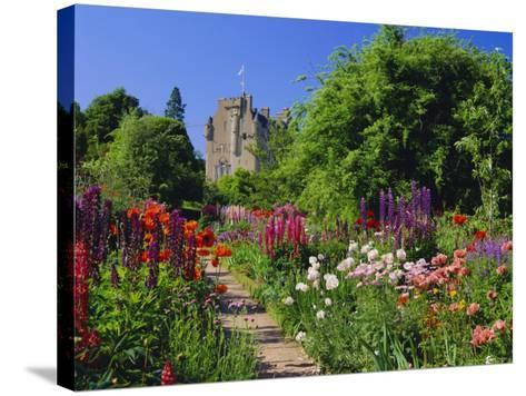 Herbaceous Borders in the Gardens, Crathes Castle, Grampian, Scotland, UK, Europe-Kathy Collins-Stretched Canvas Print