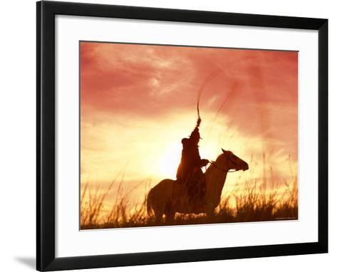 Profile of a Stockman on a Horse Against the Sunset, Queensland, Australia, Pacific-Mark Mawson-Framed Art Print