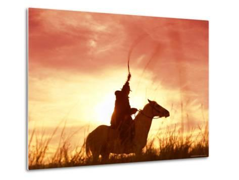 Profile of a Stockman on a Horse Against the Sunset, Queensland, Australia, Pacific-Mark Mawson-Metal Print