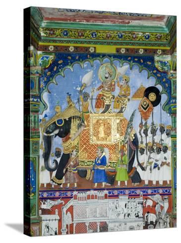 Beautiful Mughal Frescos on Walls of the Juna Mahal Fort, Dungarpur, Rajasthan, India-Robert Harding-Stretched Canvas Print