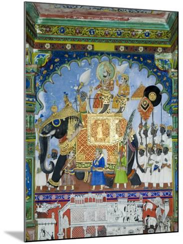 Beautiful Mughal Frescos on Walls of the Juna Mahal Fort, Dungarpur, Rajasthan, India-Robert Harding-Mounted Photographic Print