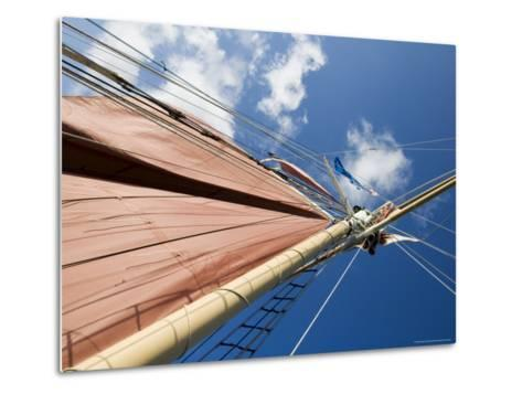 Red Sails on Sailboat That Takes Tourists out for Sunset Cruise, Key West, Florida, USA-Robert Harding-Metal Print