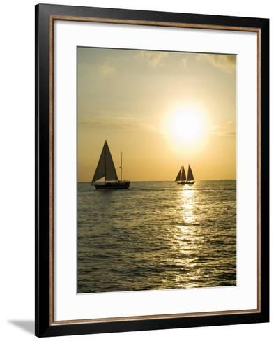 Sailboats at Sunset, Key West, Florida, United States of America, North America-Robert Harding-Framed Art Print