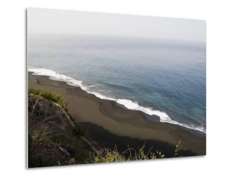 Black Volcanic Sand Beach at Sao Filipe, Fogo (Fire), Cape Verde Islands, Atlantic Ocean, Africa-Robert Harding-Metal Print