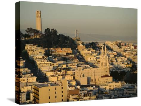 Coit Tower and Telegraph Hill at Dusk, San Francisco, California, USA-Fraser Hall-Stretched Canvas Print