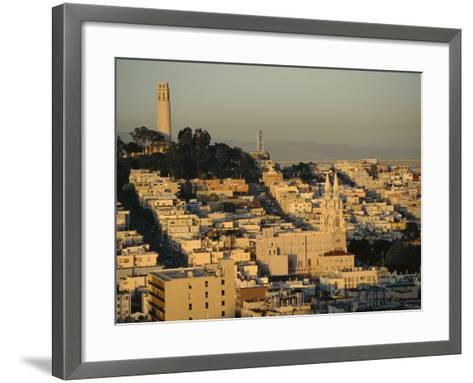 Coit Tower and Telegraph Hill at Dusk, San Francisco, California, USA-Fraser Hall-Framed Art Print