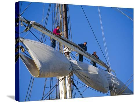 Sail Furling at the Living Maritime Museum, Mystic Seaport, Connecticut, USA-Fraser Hall-Stretched Canvas Print