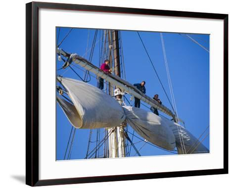 Sail Furling at the Living Maritime Museum, Mystic Seaport, Connecticut, USA-Fraser Hall-Framed Art Print