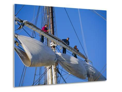 Sail Furling at the Living Maritime Museum, Mystic Seaport, Connecticut, USA-Fraser Hall-Metal Print