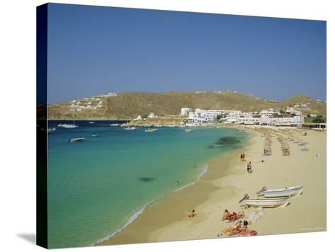 Plati Yialos Beach, Mykonos, Cyclades Islands, Greece, Europe-Fraser Hall-Stretched Canvas Print