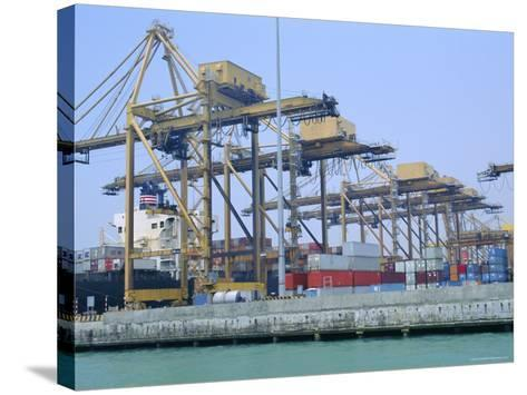 Containers on the Docks, Singapore Harbour, Singapore-Fraser Hall-Stretched Canvas Print