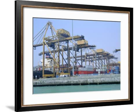 Containers on the Docks, Singapore Harbour, Singapore-Fraser Hall-Framed Art Print