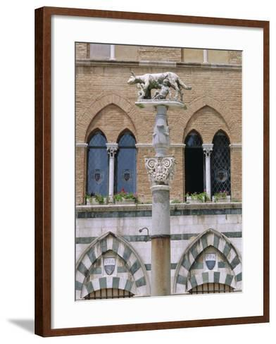 Statue of Romulus and Remus in the Piazza Del Duomo, Siena, Tuscany, Italy, Europe-Fraser Hall-Framed Art Print