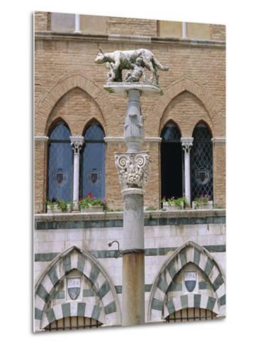 Statue of Romulus and Remus in the Piazza Del Duomo, Siena, Tuscany, Italy, Europe-Fraser Hall-Metal Print