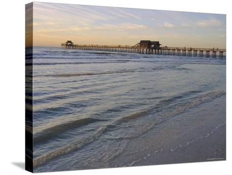 Naples Beach and Pier, Naples, Florida, USA-Fraser Hall-Stretched Canvas Print