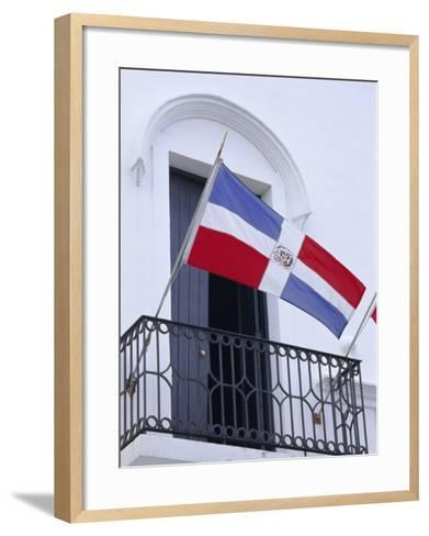 National Flag, Dominican Republic, Caribbean, West Indies-Guy Thouvenin-Framed Art Print