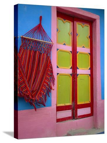 Close-up of Doorway and Hammock, Raquira, Boyaca Region, Columbia, South America-D Mace-Stretched Canvas Print