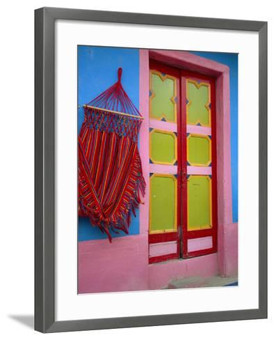 Close-up of Doorway and Hammock, Raquira, Boyaca Region, Columbia, South America-D Mace-Framed Art Print