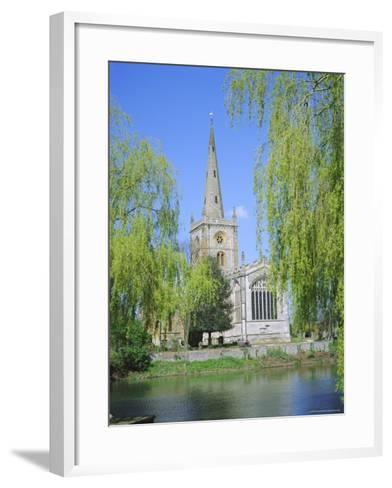 Holy Trinity Church from the River Avon, Stratford-Upon-Avon, Warwickshire, England, UK, Europe-David Hunter-Framed Art Print