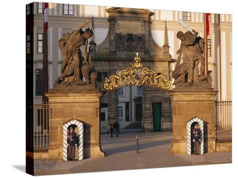 Palace Guards Outside First Courtyard, Prague Castle, Prague, Czech Republic, Europe-Neale Clarke-Stretched Canvas Print