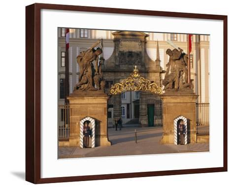 Palace Guards Outside First Courtyard, Prague Castle, Prague, Czech Republic, Europe-Neale Clarke-Framed Art Print
