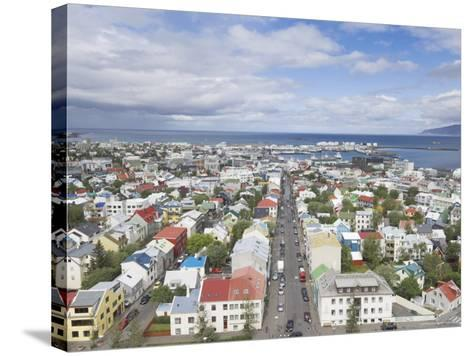 City Centre and Faxafloi Bay from Hallgrimskirkja, Reykjavik, Iceland, Polar Regions-Neale Clarke-Stretched Canvas Print