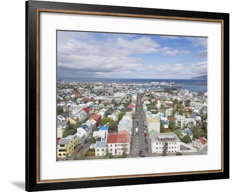 City Centre and Faxafloi Bay from Hallgrimskirkja, Reykjavik, Iceland, Polar Regions-Neale Clarke-Framed Art Print