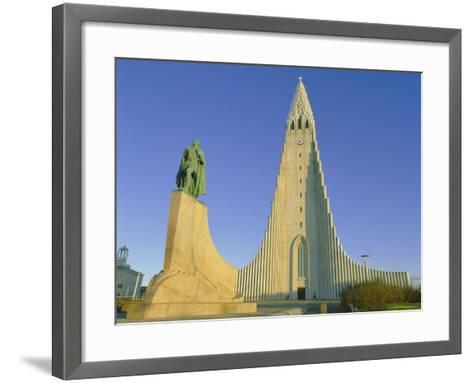 Statue of Liefur Eiriksson and the Hallgrimskikja Church, Reykjavik, Iceland, Polar Regions-Simon Harris-Framed Art Print