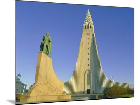 Statue of Liefur Eiriksson and the Hallgrimskikja Church, Reykjavik, Iceland, Polar Regions-Simon Harris-Mounted Photographic Print