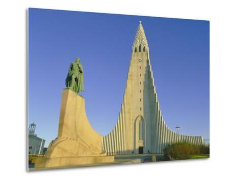 Statue of Liefur Eiriksson and the Hallgrimskikja Church, Reykjavik, Iceland, Polar Regions-Simon Harris-Metal Print
