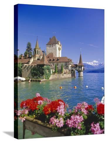 Lake Thun (Thunersee) and Oberhofen Castle, Bernese Oberland, Switzerland, Europe-Simon Harris-Stretched Canvas Print